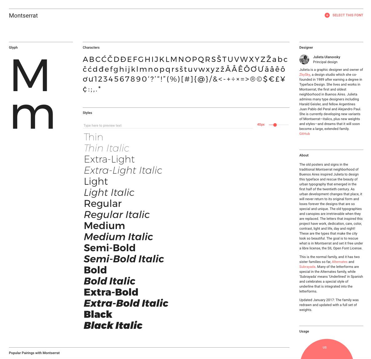Resultado de Google Fonts de Montserrat