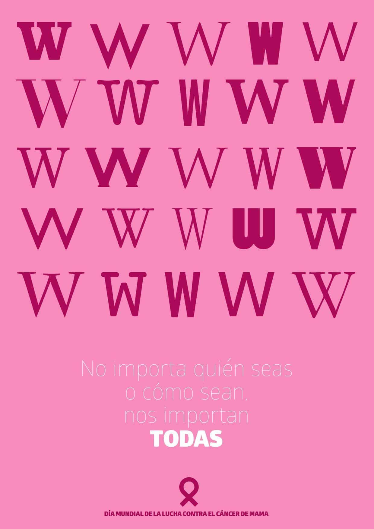 cáncer de mama tipografía